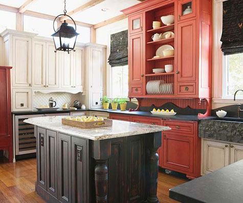Red Rooms: Decorating With the Color Red - A kitchen with a mixture of red, white and black cabinets