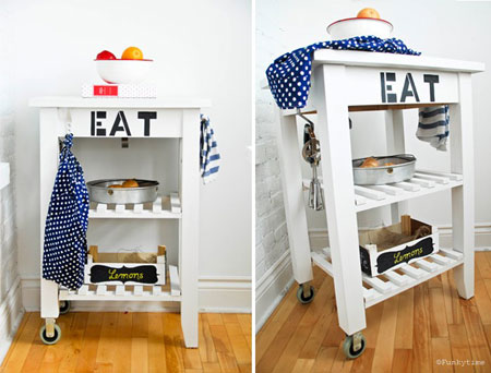 Ikea Hacks on Thrifty Thursday: What kitchen couldn't do with a little extra storage? Bring in storage with style by painting a wood kitchen cart in white and painting a funky phrase on the front. Then deck it out with all kinds of storage hooks and gadgets. Kitchen Cart Tutorial