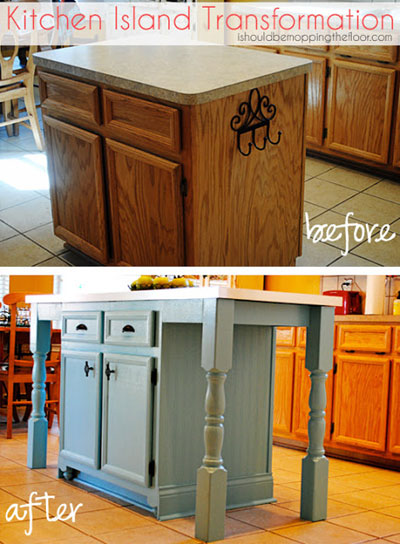 DIY Decorating Ideas: Many of the islands that come standard in homes are just a little too small. The work area on this island was expanded with a larger countertop supported by decking posts. Now there's even a place for two stools to fit easily underneath. Kitchen Island Transformation Tutorial