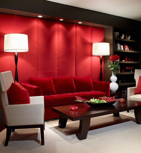 Red Rooms: Decorating With the Color Red - Living room with red padded wall panels