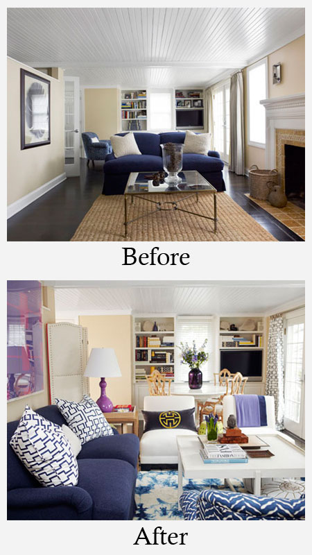 Living Room Makeovers - Before and After: This living room went from so-so to sensational is only 9 hours. Changing the furniture layout made the space feel larger and offered more entertaining options. Colorful accessories and additional lighting helped to liven things up. See the whole process of this one-day living room makeover here.