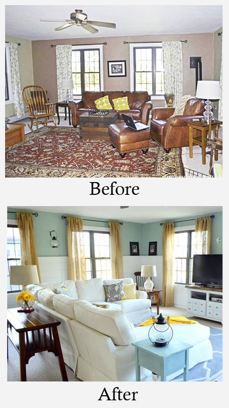 Living Room Makeovers - Before and After: A very traditional dark brown family room was turned into a bright and airy new space. White furniture and wall planks worked beautifully with the cheery wall color to lighten things up. Accents in yellow added a pop of sunny color.