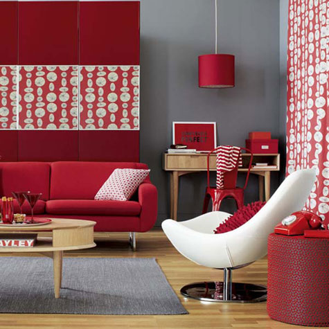 Red Rooms: Decorating With the Color Red - A modern living room decorated in red, gray and white