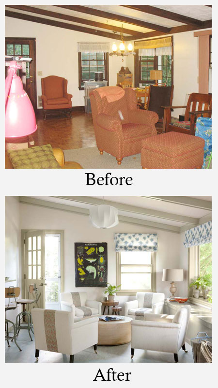 Living room makeovers before and after photos for How to makeover your living room