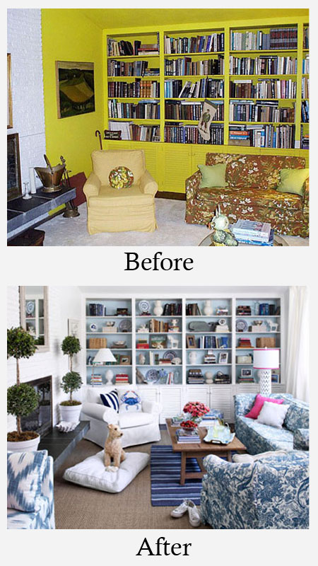 Living Room Makeovers - Before and After: This living room hadn't changed much since the 70's. However, with a limited budget the space was transformed. The overpowering marigold was painted out in a crisp white. Then, the back of the bookcase was painted in a soft blue to add depth. More photos and details here.