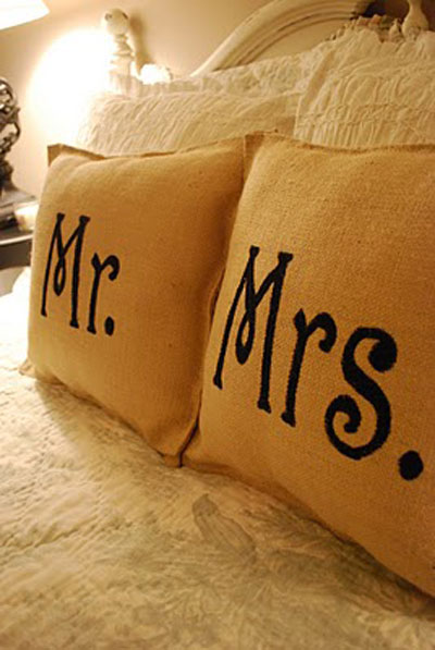 DIY Decorating Ideas: Imitation is the sincerest form of flattery. And knock-offs are one of the most cost saving forms of decorating. These Mr. and Mrs. pillows are a knock-off of a Ballard Designs set, but were done for a fraction of the cost. Mr. and Mrs. Pillow Set Tutorial