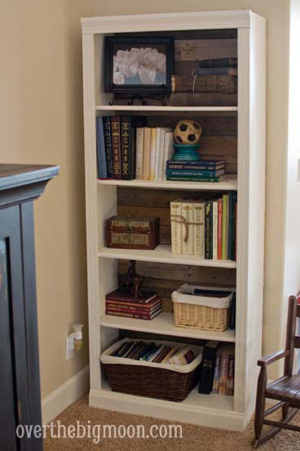 Bookcase Back Panel Ideas: There's almost nothing you can't do with a pallet! Use the boards in place of the back panel of a bookcase. It gives extra strength to the frame and adds lots of style.