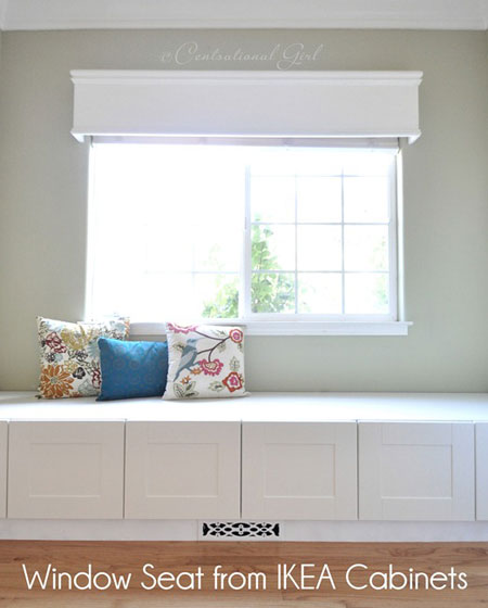 Ikea Hacks on Thrifty Thursday: A row of Akurum cabinets make a fabulous window seat. They've even incorporated the heat register, making it part of the design. Window Seat Tutorial