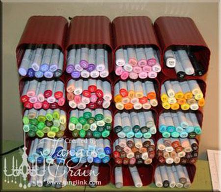Craft Storage Ideas: Drain Spout Pen Organizer