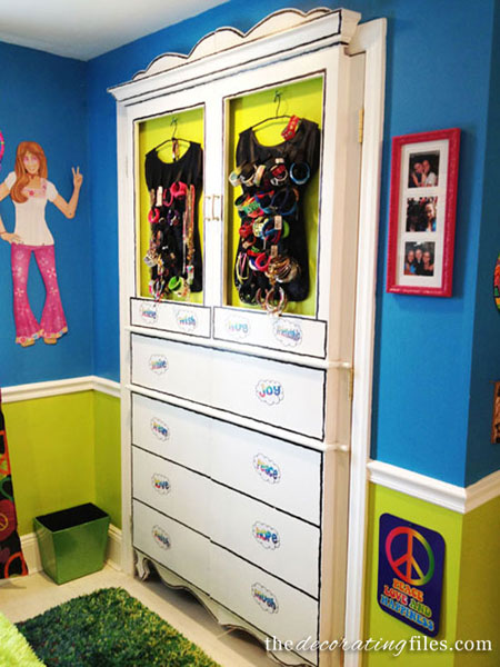 Closet Door Ideas: These closet doors have been designed to look like a whimsical armoire.