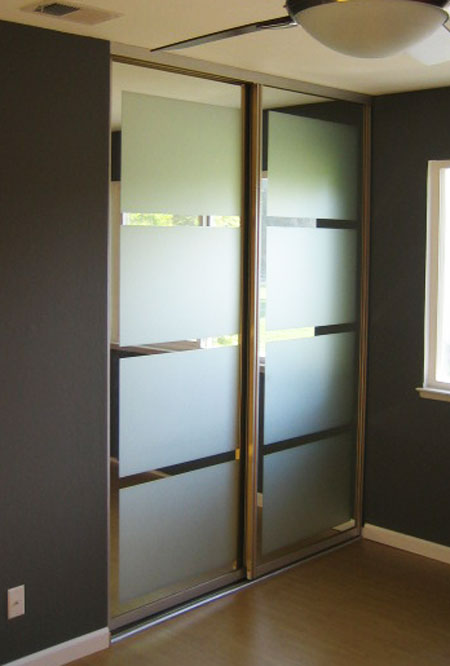 Closet Door Ideas: Add geometric frosted shapes to ordinary glass doors for an inexpensive way to give them a contemporary update.