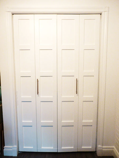 Closet Door Ideas: Upgrade plain, flat panel doors and add architectural detail by attaching wood molding. Finish by applying a fresh coat of paint.