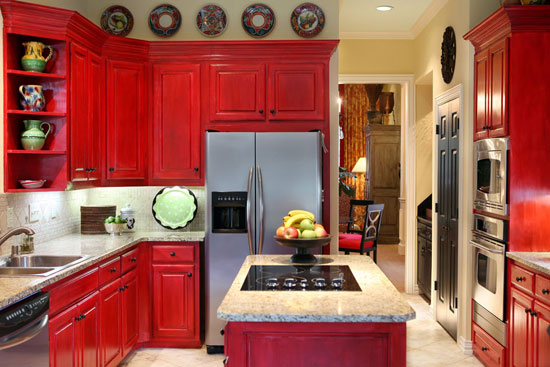 Red Kitchen Cabinets ~ Cabinet paint colors colorful choices for the kitchen