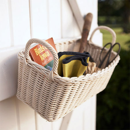 Organizing Tips for Garden Tools: Baskets are great for storing items you use often and need to get grab quickly. Hang one on the door of the shed or in a place where you can easily access it.