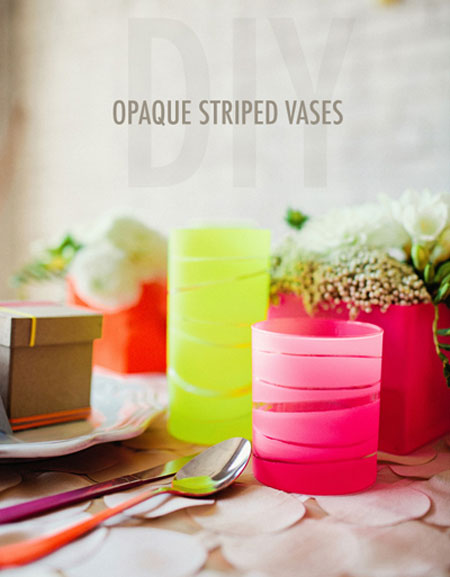 DIY Home Decor Projects: Add pops of color to your home with these opaque striped vases that you can make yourself. Believe it or not, it's done with rubber bands and spray paint! Opaque Striped Vases Tutorial