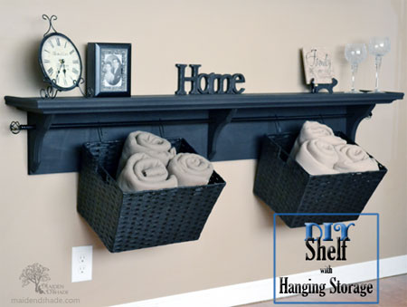 DIY Shelving Ideas: This shelving idea combines display space and much needed extra storage via the hanging baskets. It's so easy to make, you can have it done in a day. Shelf and Hanging Storage Tutorial