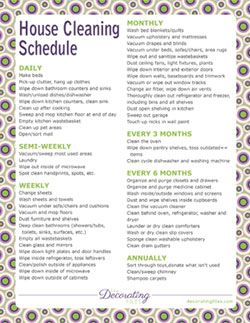 housecleaning chart