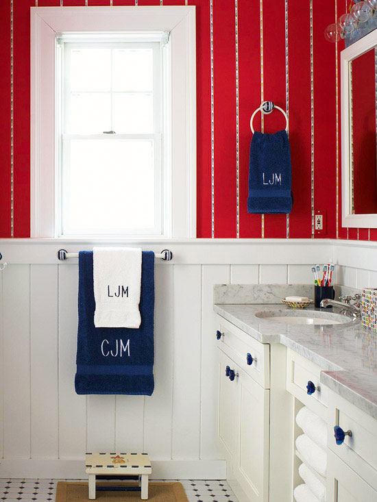 Decorating with color red white and blue for Bathroom designs red