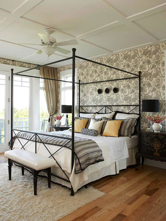 mixing patterns master bedroom in black creams gold