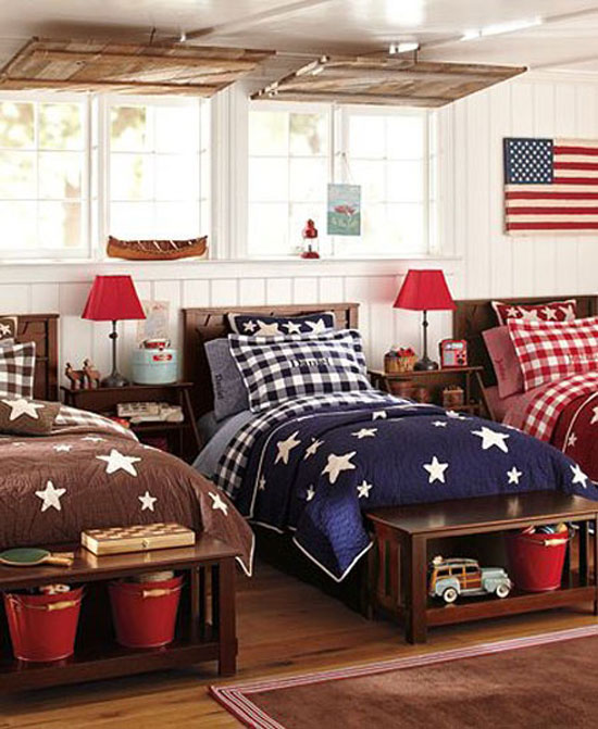 Decorating with color red white and blue for Boys bedroom ideas red