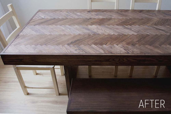 DIY Projects: Creative Furniture Ideas - This dining table was crafted from mostly recycled materials. The base is an old door and the herringbone pattern was made from leftover ash wood strips. This project is fairly easy to do, but it is time consuming. However, it's well worth the effort. To build this table, it cost a fraction of what it would to buy it. Herringbone Wood Dining Table Tutorial