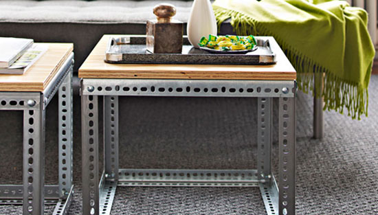 DIY Projects: Creative Furniture Ideas - These industrial side tables offer a trendy modern look without a huge price tag. Use two of them in place of a coffee table. They're easy to move around when you have lots of guests. Industrial Side Table Tutorial