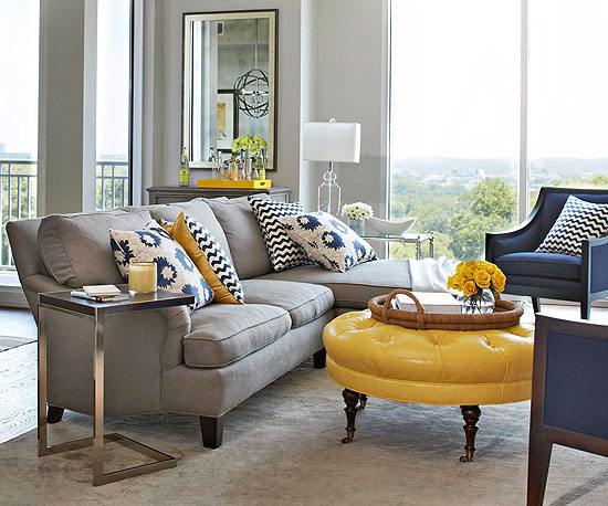 Mixing patterns how to decorate like a pro for Yellow and grey living room ideas