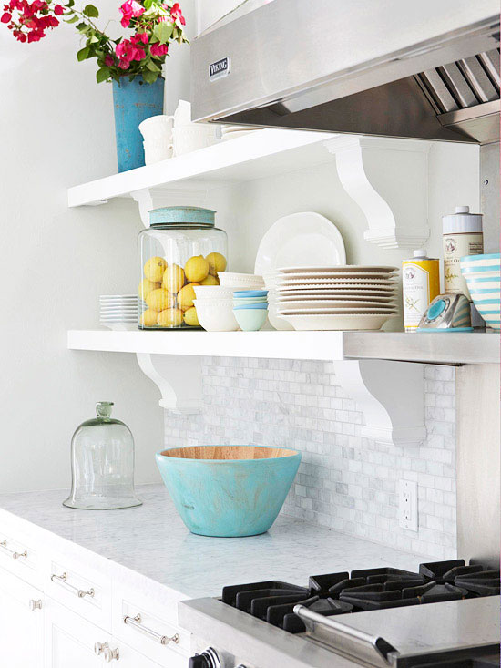 Open Kitchen Shelving Tips and Inspiration: White shelving with curved brackets on a tile backsplash
