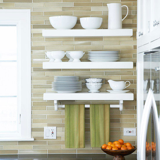 Open Kitchen Shelving Tips and Inspiration: White floating shelves over tiled backsplash with long, narrow tiles installed horizontally