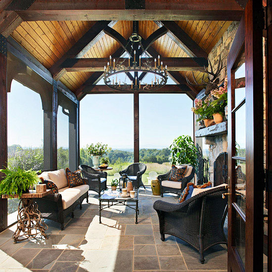 Porch decorating ideas creating a fabulous space for Open beam front porch