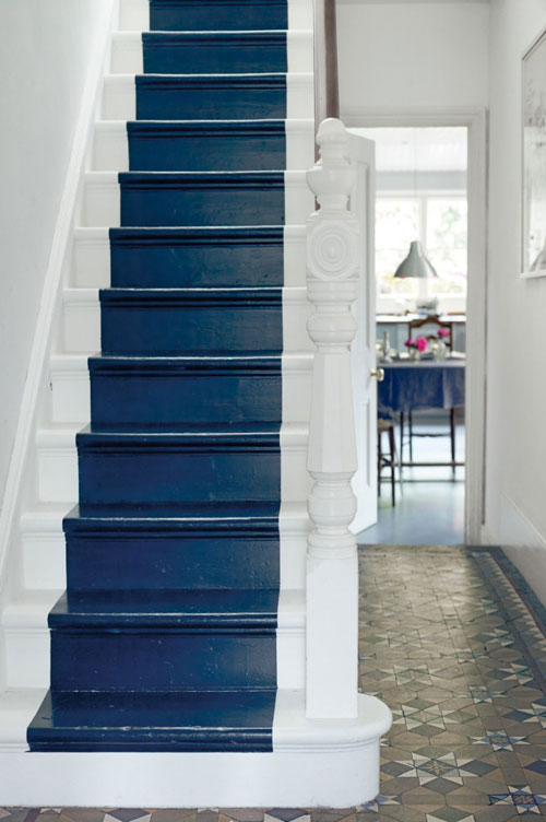 Staircase Ideas: Blue runner painted on white staircase