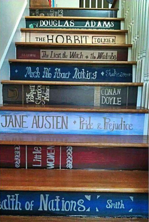 Staircase Ideas: Book titles painted on staircase risers