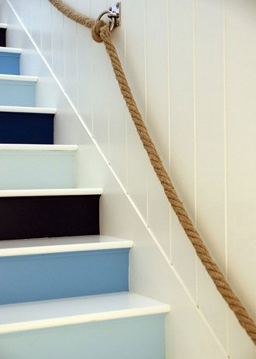 Staircase Ideas: Staircase risers painted in different shades of blue