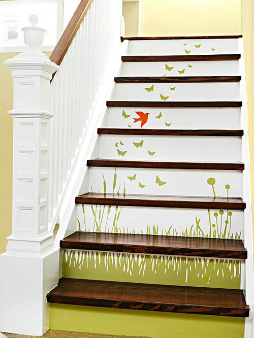 Staircase Ideas: Scenic decals add style to white stair risers
