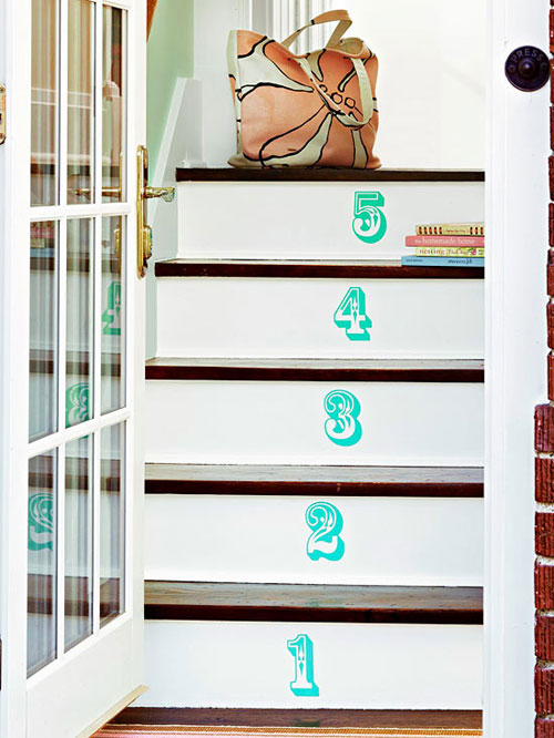 Staircase Ideas: Painted numbers on stair risers