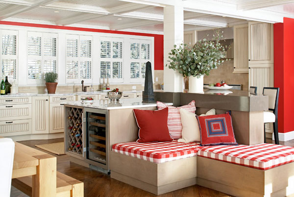 Gingham a fresh new look for a classic style for Red white and blue kitchen ideas