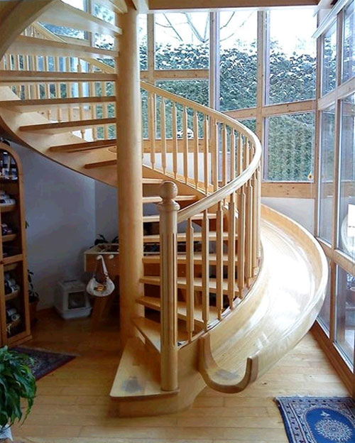 Staircase Ideas: A slide attached to the stairs