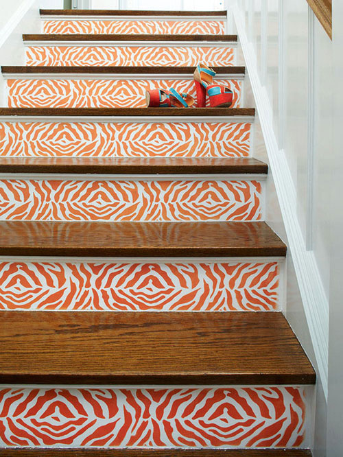 Staircase Ideas: Stencils used to create a pattern on stair risers