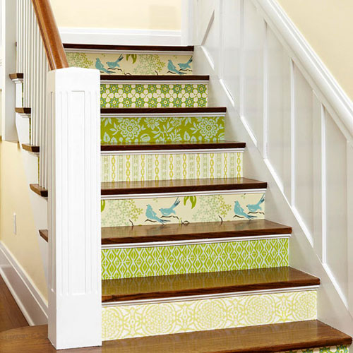 Staircase Ideas: Stair risers decorated with wallpaper