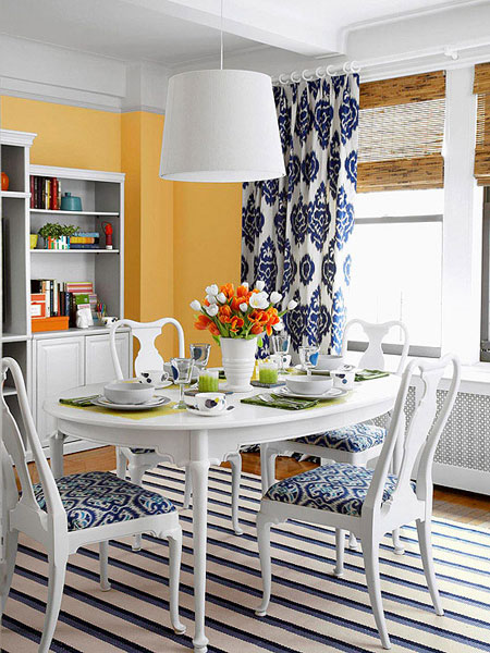 Blue dining room 12 ideas for inspiration for Orange and grey dining room