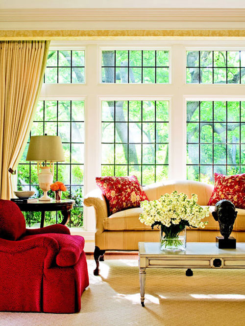 Fall colors decor with red orange gold brown - Brown and orange living room ...