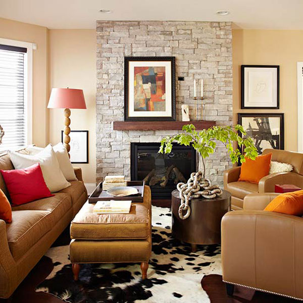 Fall colors decor with red orange gold brown - Airy brown and cream living room designs inspired from outdoor colors ...