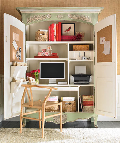 Home Office Ideas: Conceal It In An Armoire | Decorating Files |  Decoratingfiles.com