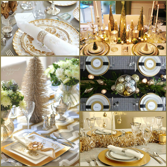 Gold christmas table settings for Table setting design