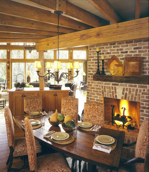 Dining rooms with fireplaces the decorating files - Kitchen and dining room decor ...
