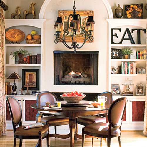 Dining rooms with fireplaces the decorating files for Dining room fireplace ideas