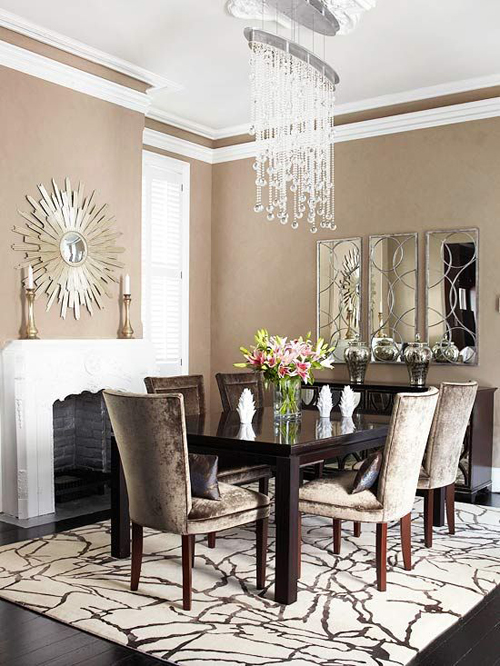Dining rooms with fireplaces the decorating files for Mirror ideas for dining room
