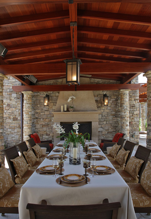 Dining rooms with fireplaces the decorating files for Outdoor room with fireplace