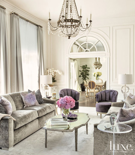 Home tour french charm meets hollywood glamour for Hollywood glam living room ideas