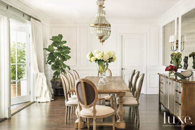 Home tour french charm meets hollywood glamour for Glam dining room ideas
